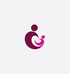 Mother and baplaying logo icon vector
