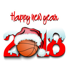 new year numbers 2018 and basketball vector image