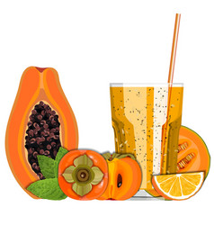 Orange color blended smoothie in a glass with vector