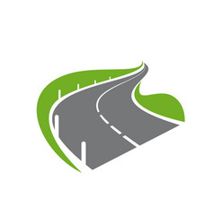 Paved curve road or highway with fencing icon vector