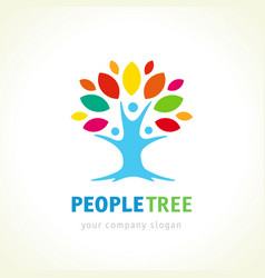 people tree logo concept vector image