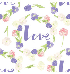 pink and lilac tulips seamless pattern frame love vector image