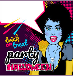 pop art halloween vampire sexy woman vector image