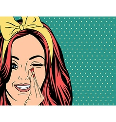 Pop Art of girl with red hair vector
