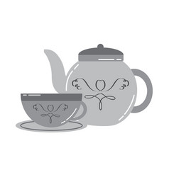 porcelain teapot and cup of tea with plate vector image