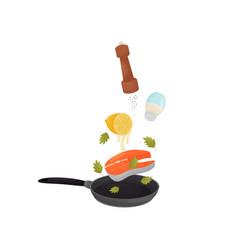 Pour fish lemon juice pepper and salt in a vector