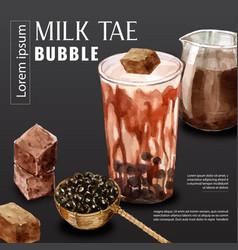 Premium brown sugar bubble milk tea ad content vector