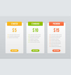 Price plans comparison table pricing grid vector