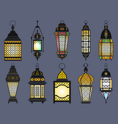 Ramadan old lanterns and lamps arabic style vector