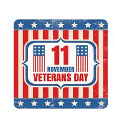 retro emblem for american veterans day vector image
