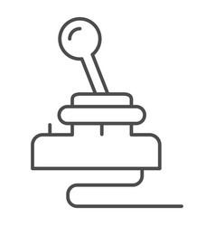 Retro joystick thin line icon game input pad vector