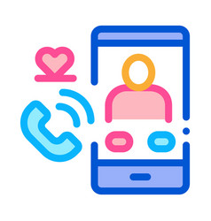 romantic phone call icon outline vector image