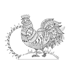 Rooster coloring book for adults vector image
