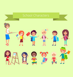 School characters collection of pupils vector