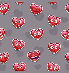 seamless pattern with funny red heart emoji vector image
