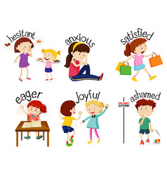 Set adjective words with children expressing vector