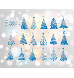 set blue christmas tree doodles on white vector image