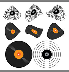 set element vinyl record with music note vector image