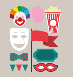 set of carnival cartoons vector image