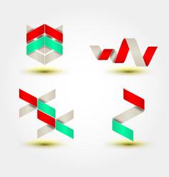set of minimal geometric multicolor striped vector image