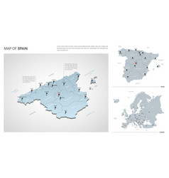 set spain country isometric 3d map spain map vector image
