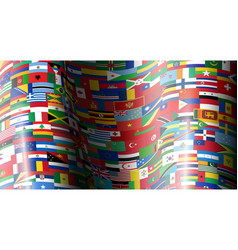 Set wave flags all countries vector