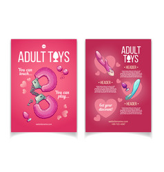 Sex shop adult toys cartoon brochure vector