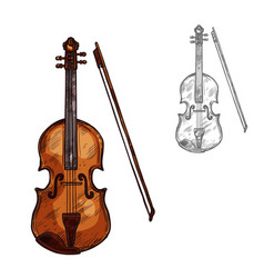 Sketch contrabass violin music instrument vector