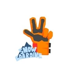Snowboarding glove with logo vector