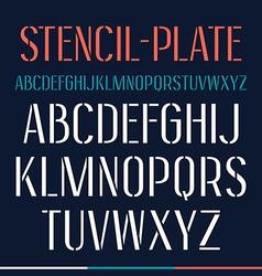 Stencil plate narrow font vector