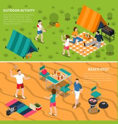 summer outdoor activity people banner set vector image