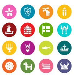 Sweden travel icons set colorful circles vector