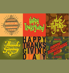 thanksgiving decoration lettering postcard vector image