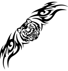 Tiger and symmetric tribals vector image