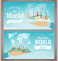 travel composition with famous world landmarks vector image