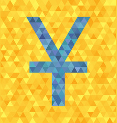 Triangle blue yenyuan symbol on vector