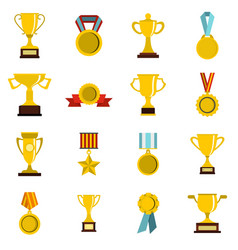 trophy set flat icons vector image