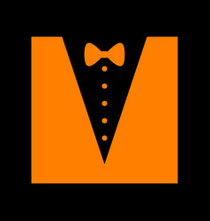 Tuxedo with bow silhouette orange icon on black vector
