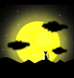 two cats in love sitting on the full moon vector image