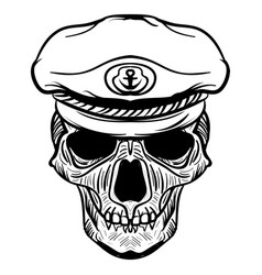 Vintage naval skull drawing and captain hat vector