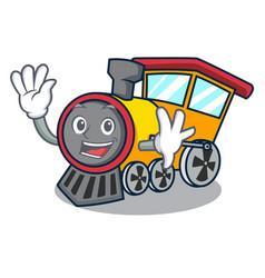 Waving train character cartoon style vector