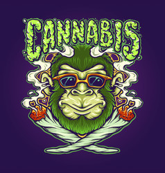 Weed joint cool monkey cannabis vector