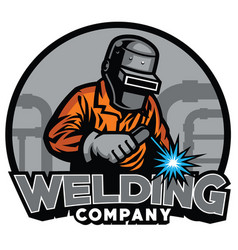 welder working with weld helmet in badge design vector image