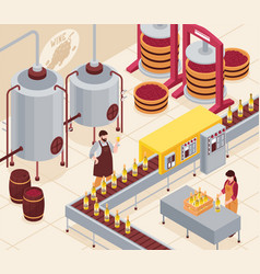 wine manufacturing isometric vector image