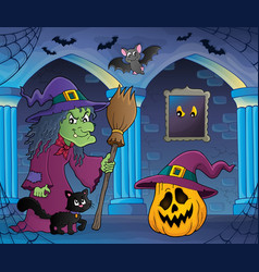 Witch with cat and broom theme image 6 vector