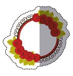 color round emblem with roses icon vector image