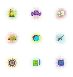 Pioneer icons set pop-art style vector
