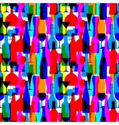 Seamless background with colorful bottles vector image