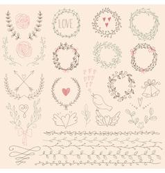 Set of Floral Design Elements Wedding set with vector image vector image