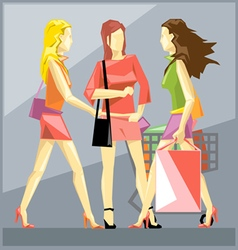 Shopping ladies in red dresses vector image